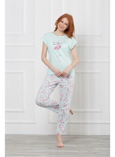 Obje Kısa Kollu Pijama Takımı Mavi